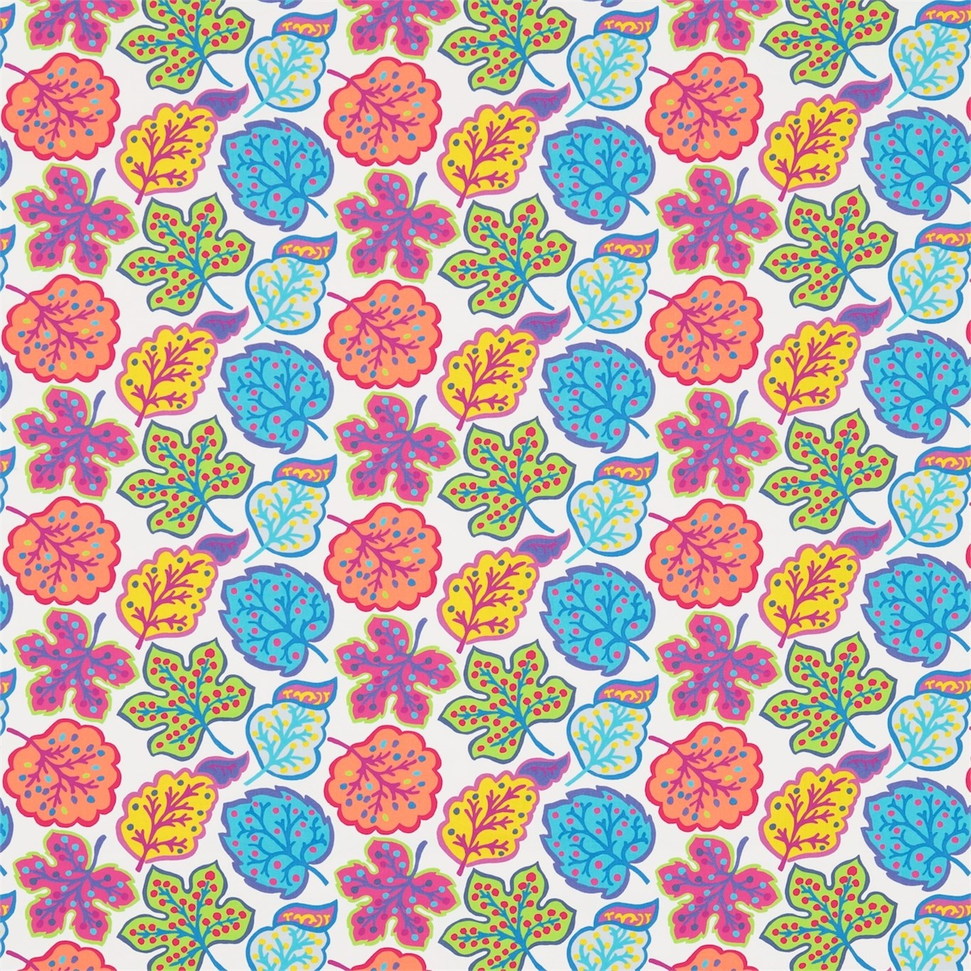Image of Sanderson Jewel Leaves Brights Fabric 224622