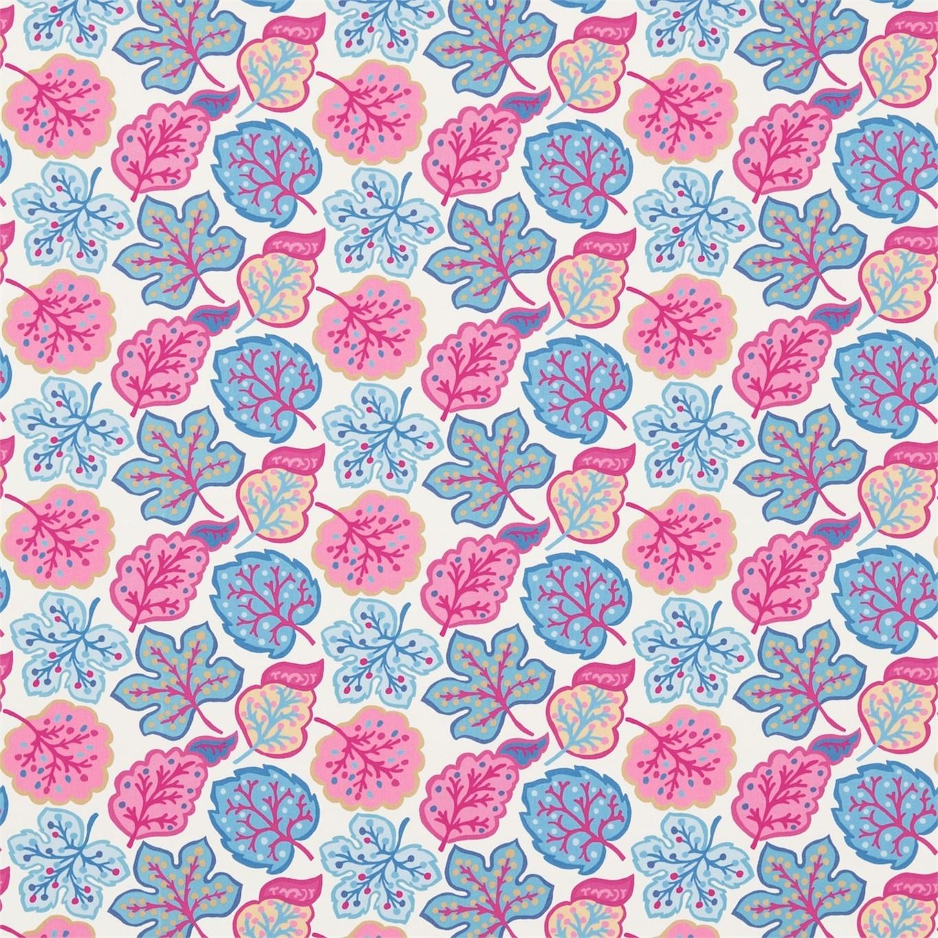 Image of Sanderson Jewel Leaves Raspberry/Blue Fabric 224623