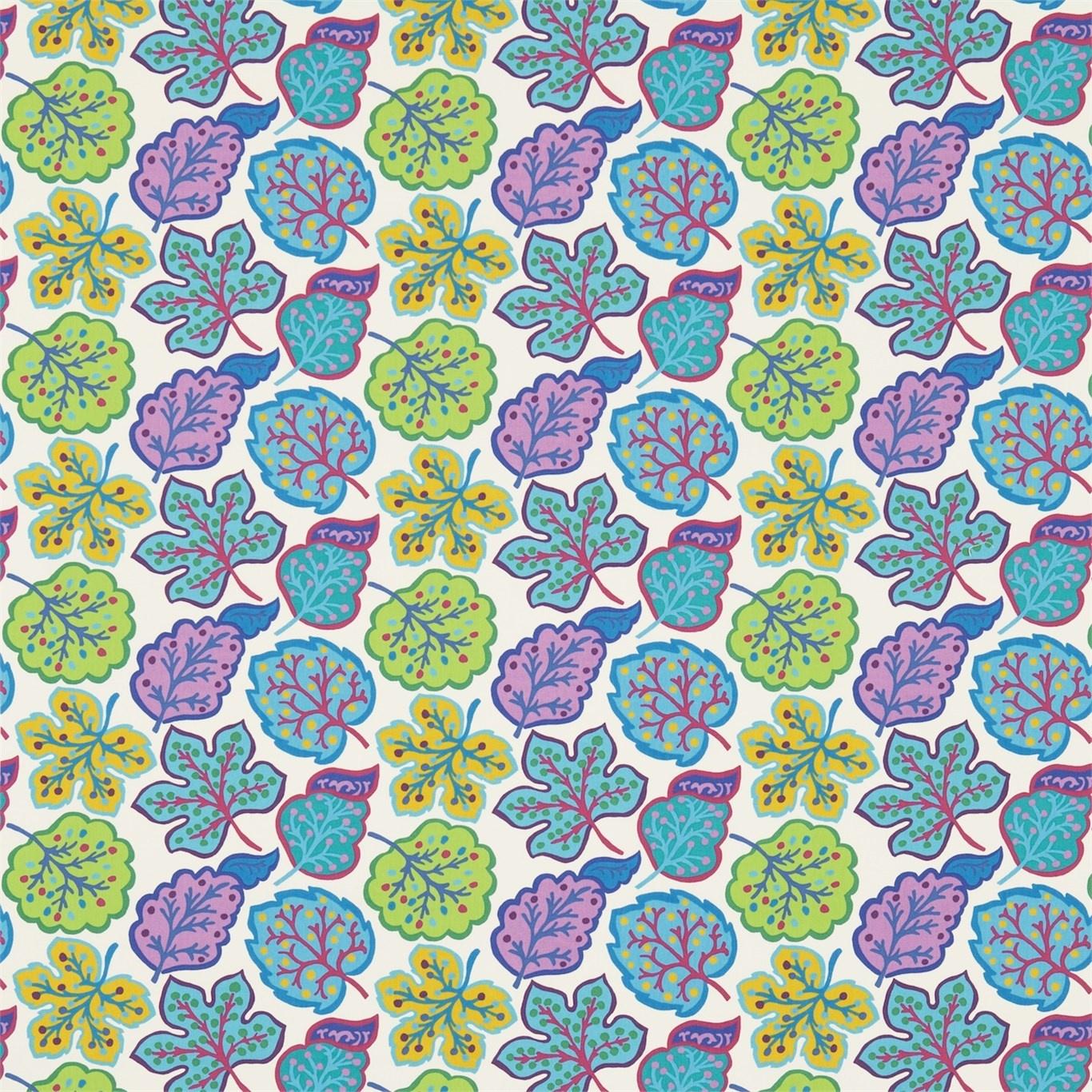 Image of Sanderson Jewel Leaves Fig/Teal Fabric 224624
