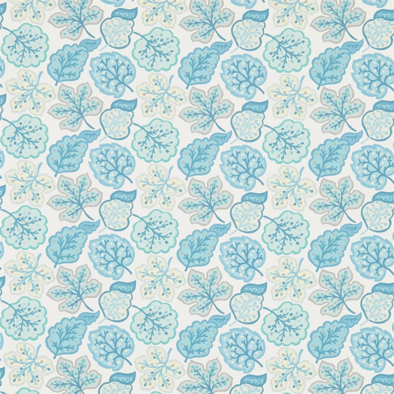 Image of Sanderson Jewel Leaves Mineral/Dove Fabric 224625