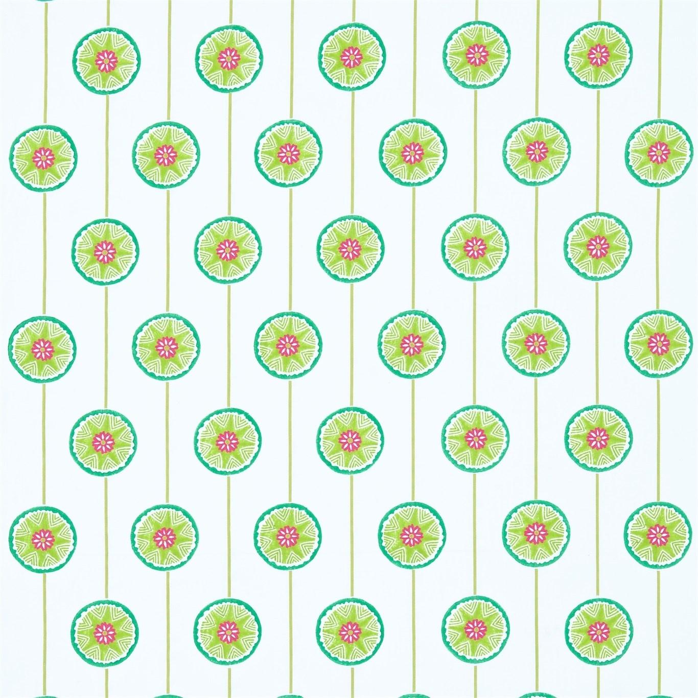 Image of Sanderson Tambourine Lime/Fuchsia Fabric 234661