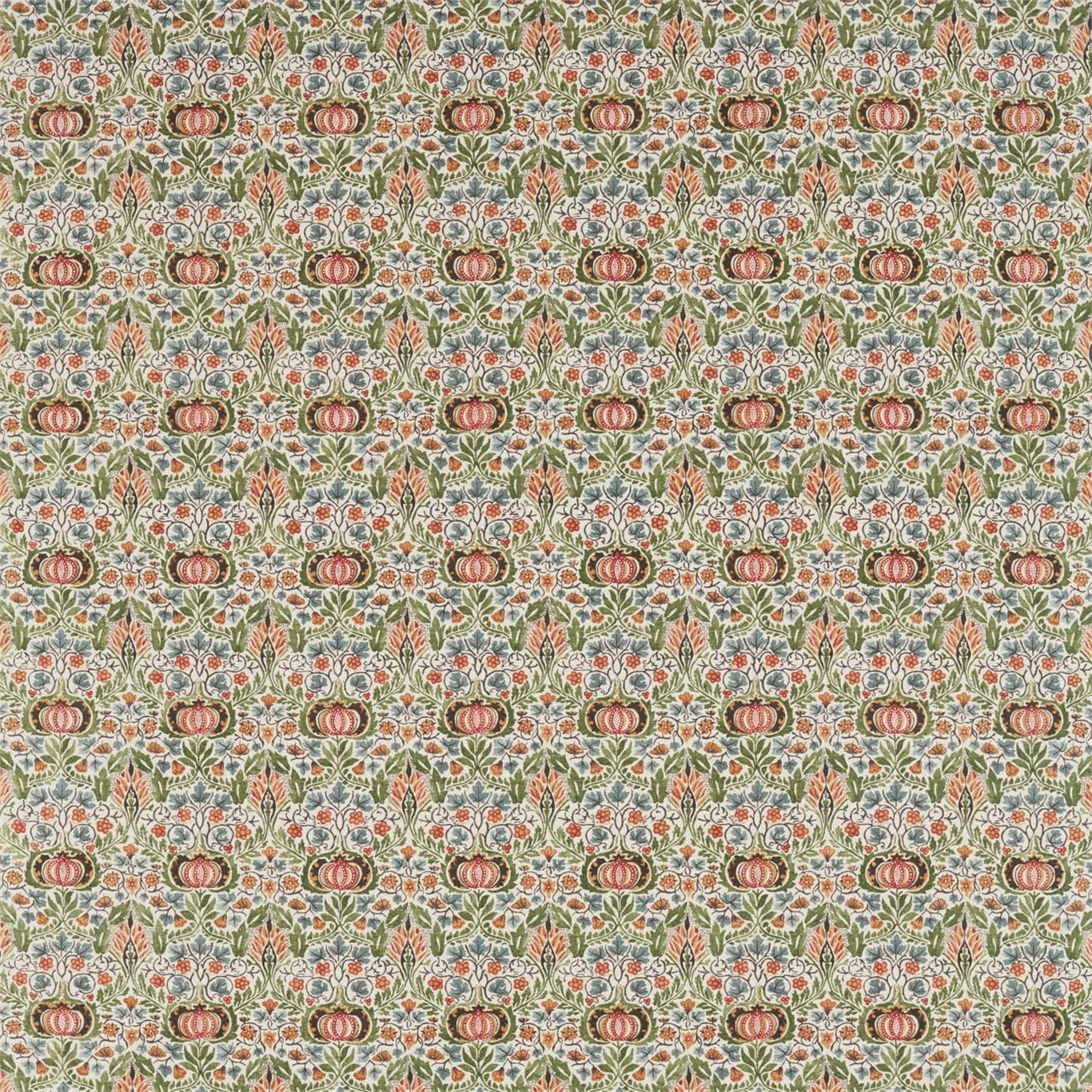 Image of Morris & Co Little Chintz Olive/Ochre Fabric 226408
