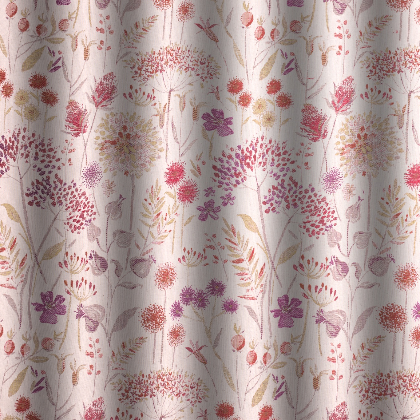 Voyage Flora Cream Plum Curtain Fabric