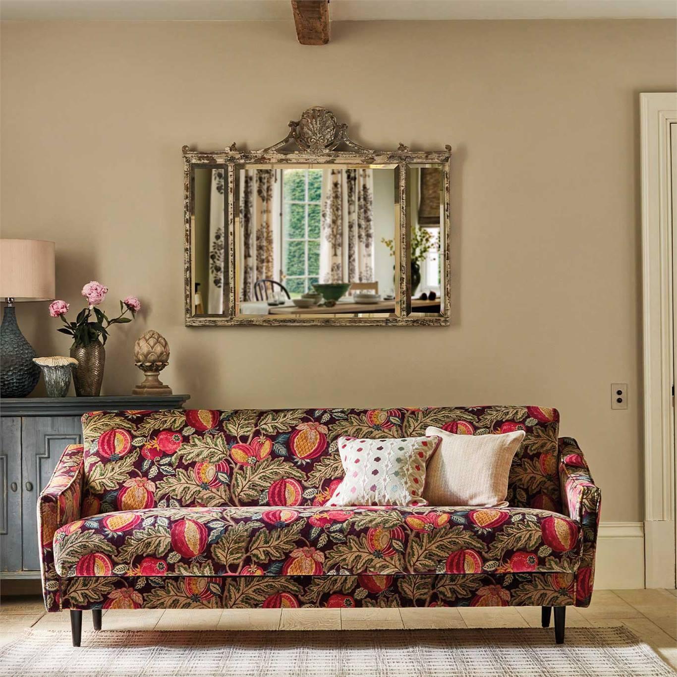 Sanderson Cantaloupe Velvet Cherry/Alabaster Fabric 226635