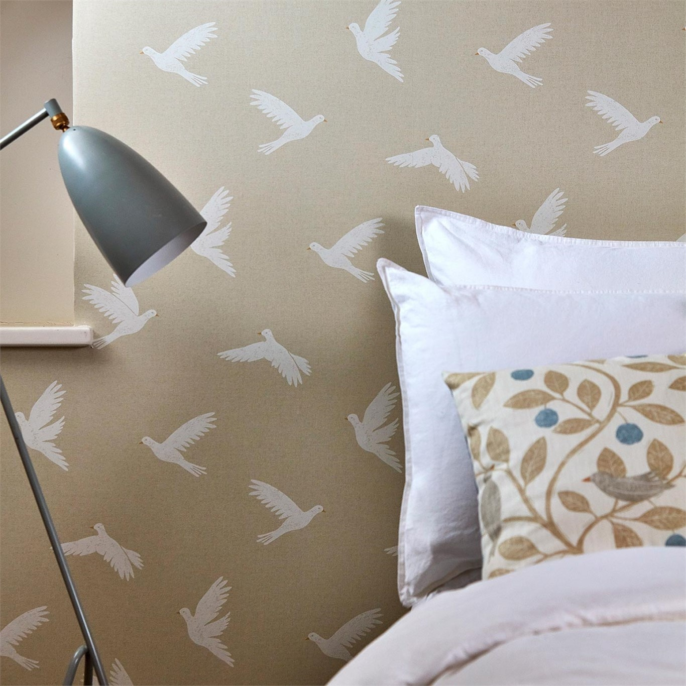Sanderson Home Paper Doves Linen Wallpaper 216378