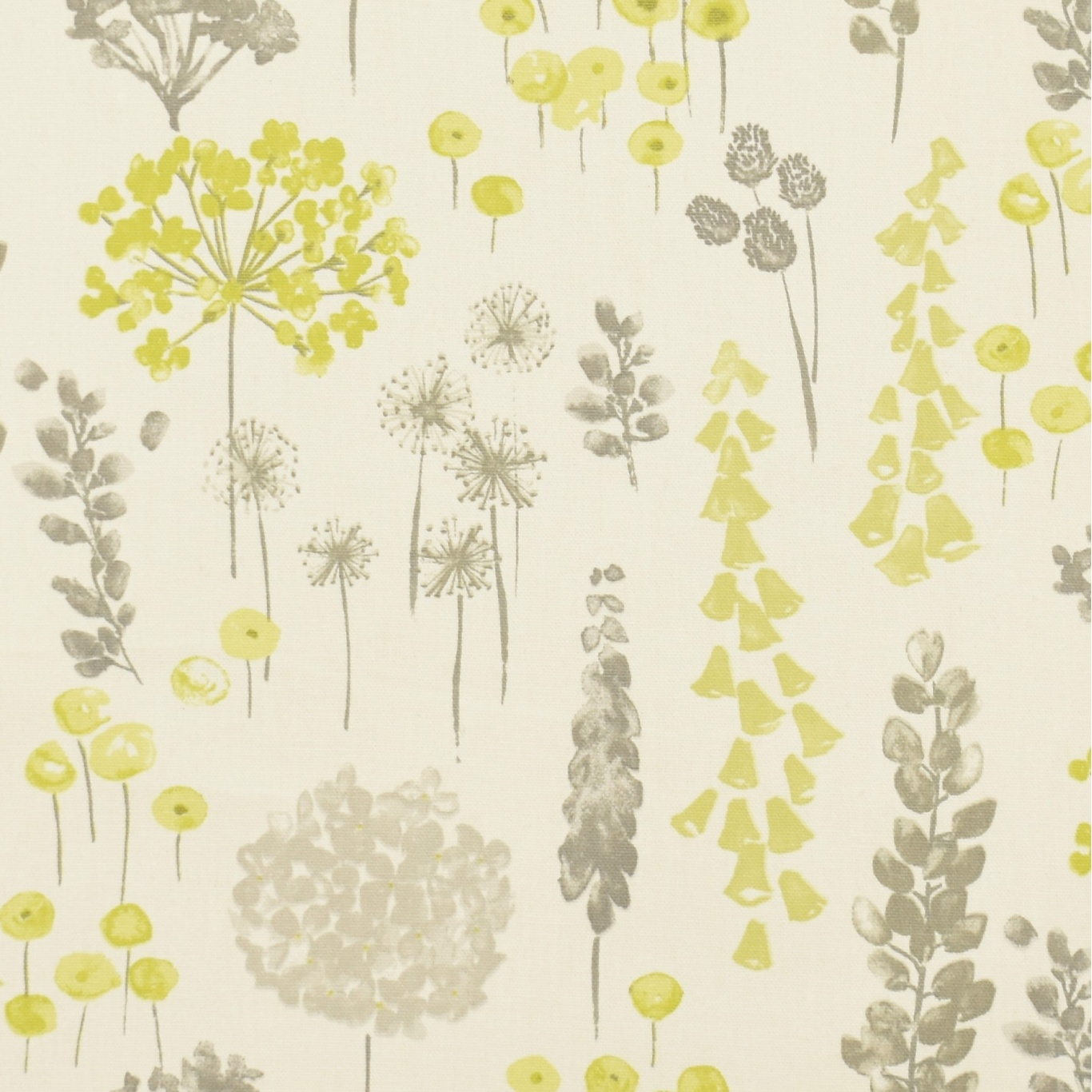 Gordon Smith Herbacious Lime Grey Curtain Fabric