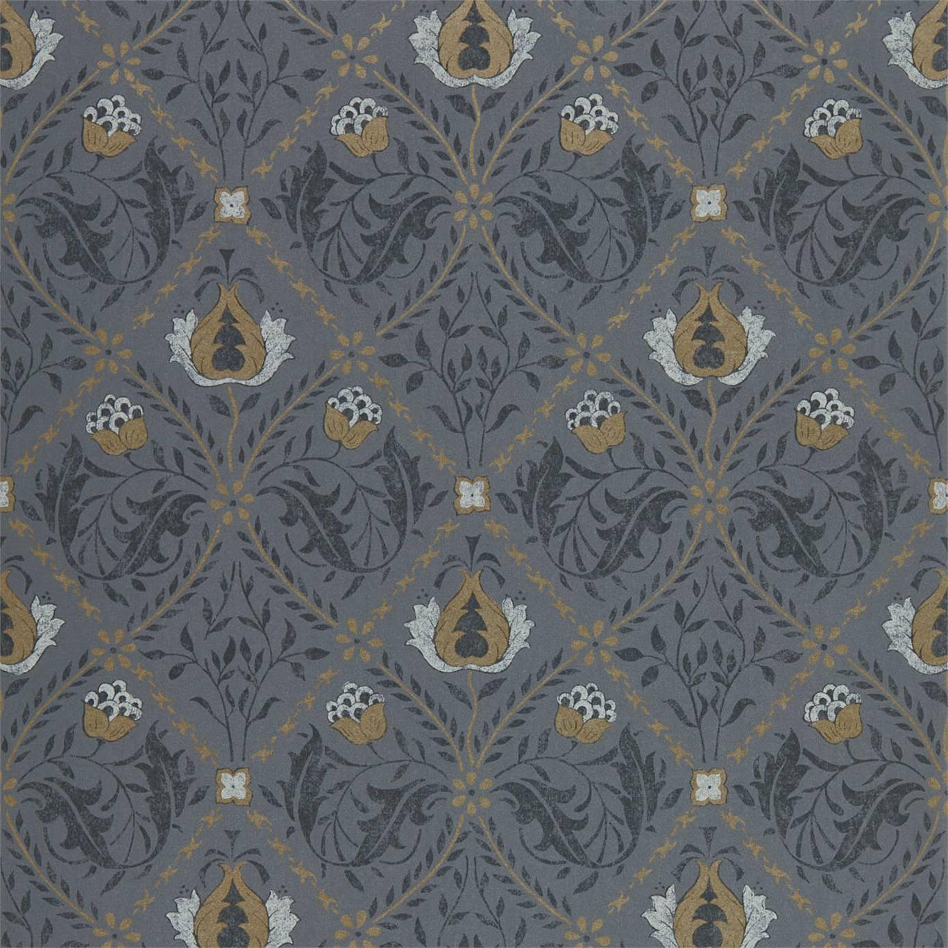 Image of Morris & Co Pure Trellis Black Ink Wallpaper 216527