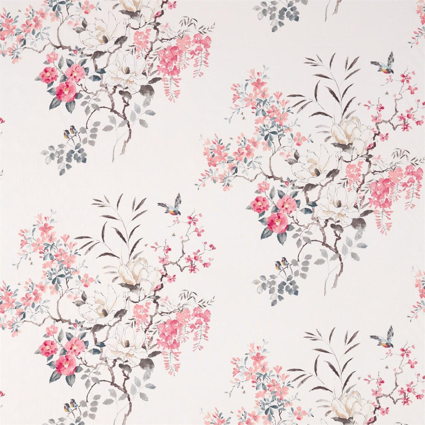 Image of Sanderson Magnolia & Blossom Coral/Silver Fabric 226295
