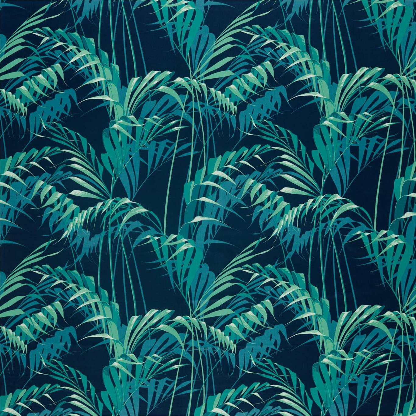 Image of Sanderson Palm House Ink/Teal Fabric 226568