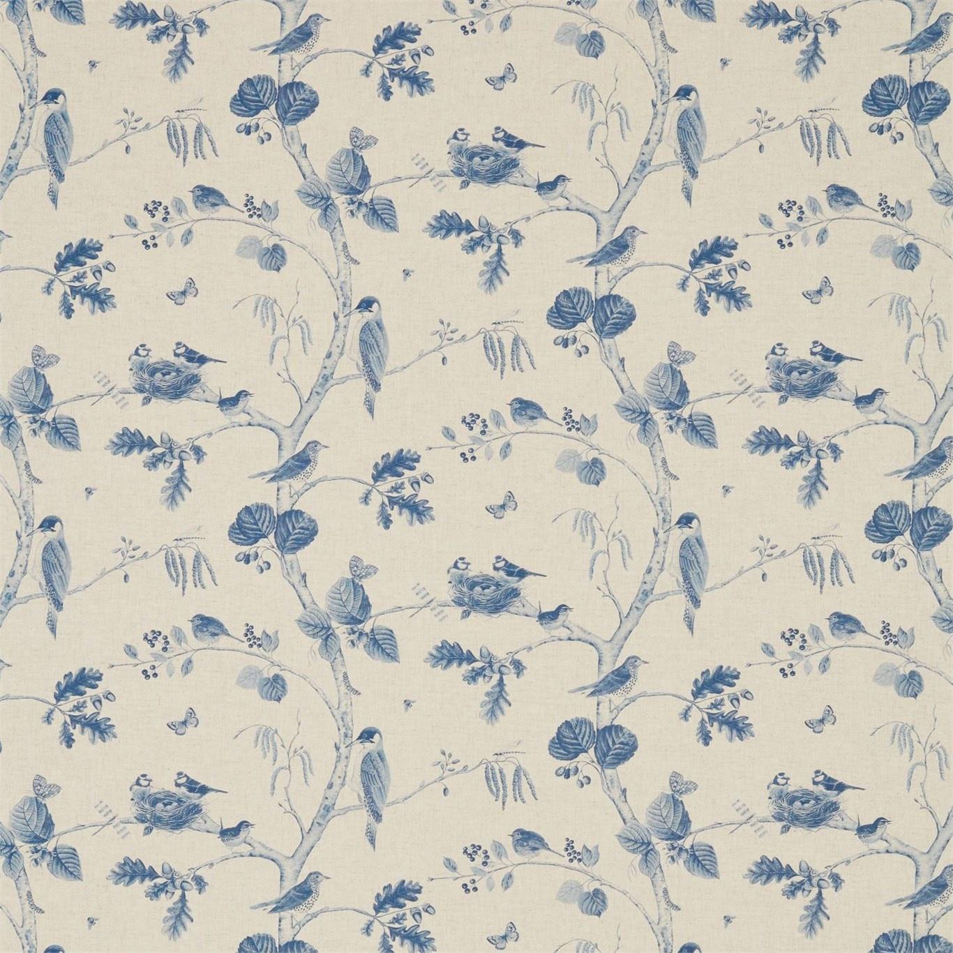 Image of Sanderson Woodland Chorus Indigo/Linen Fabric 225510
