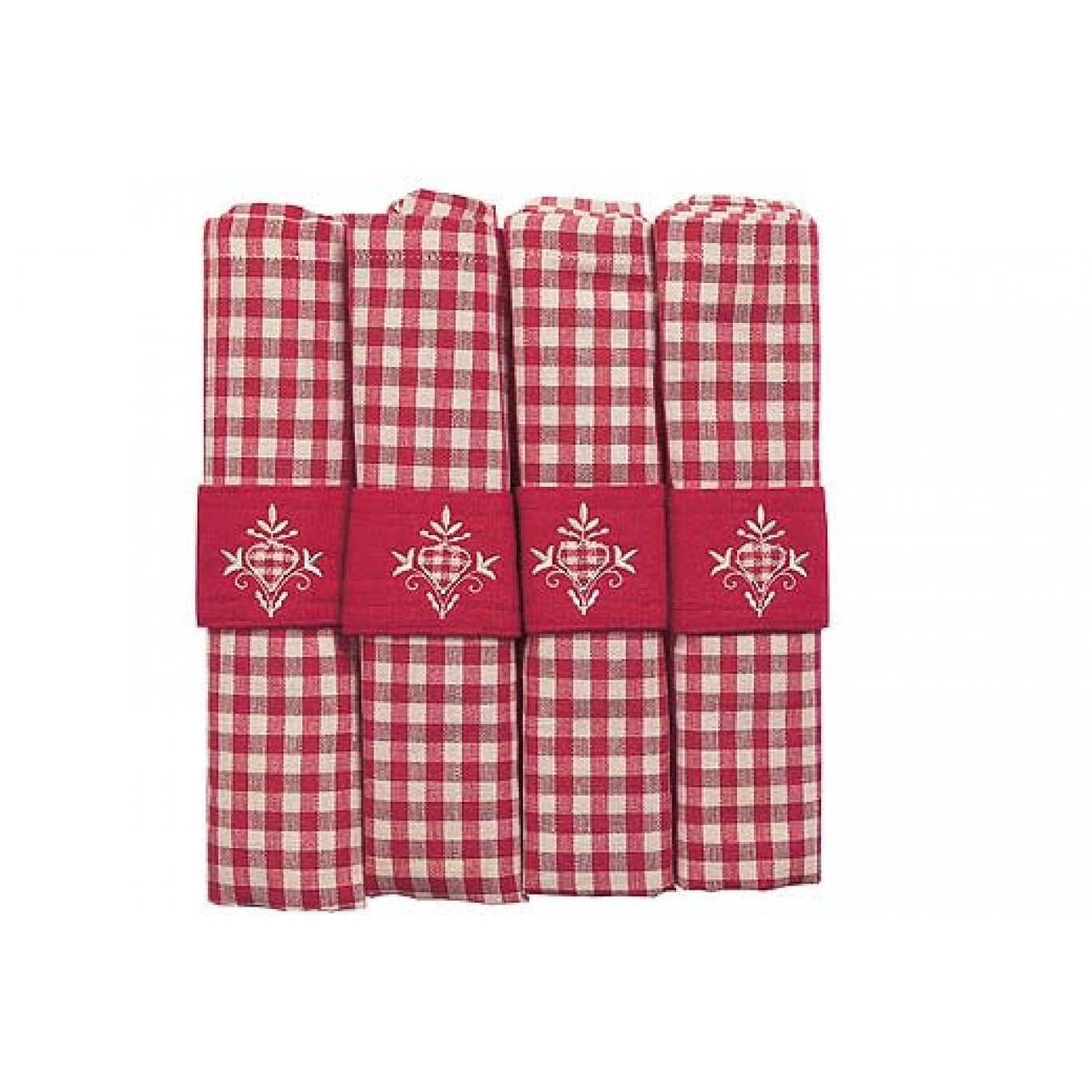 Image of Auberge Red Check Napkins set of 4