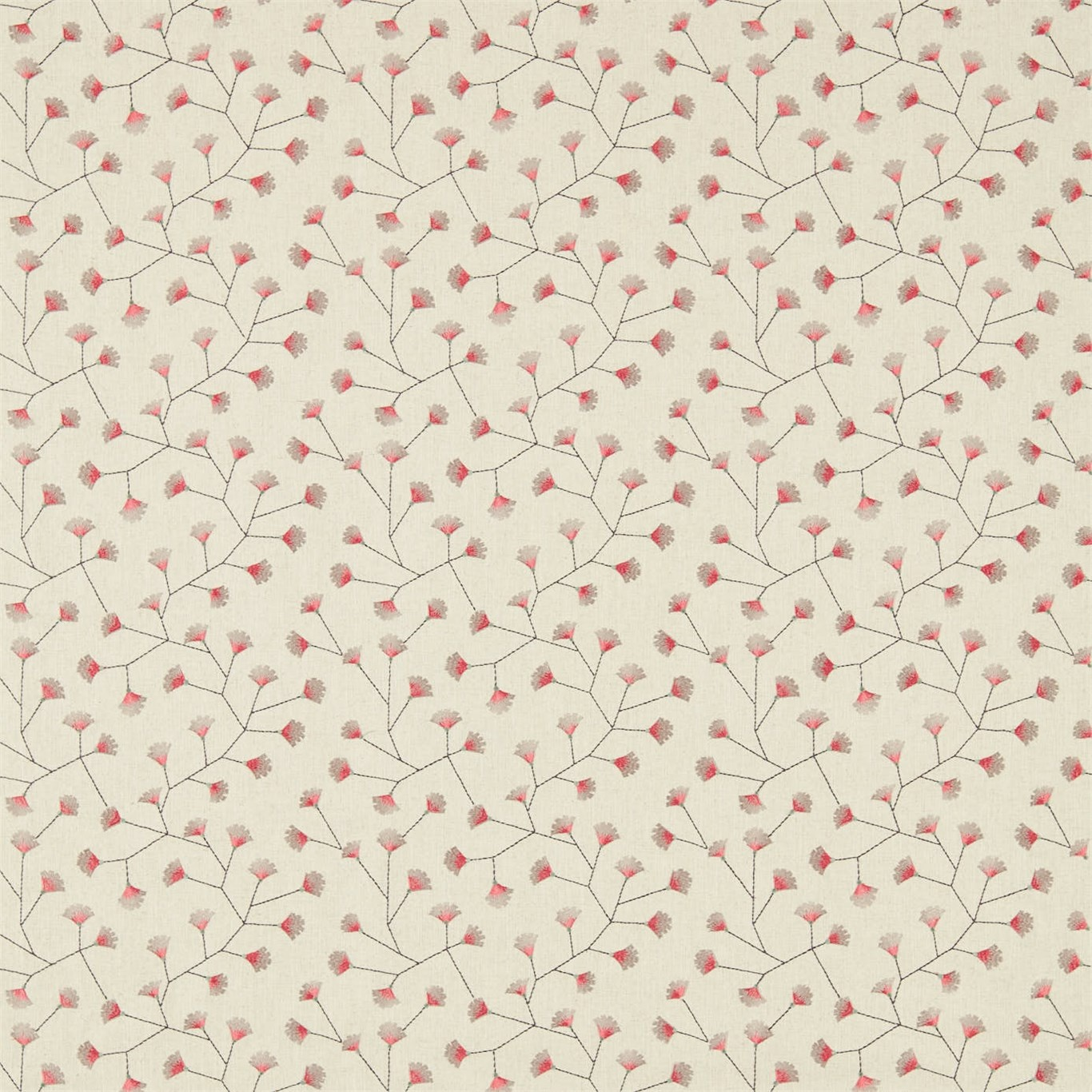 Image of Sanderson Home Gingko Trail Coral/Celadon Curtain Fabric 235885