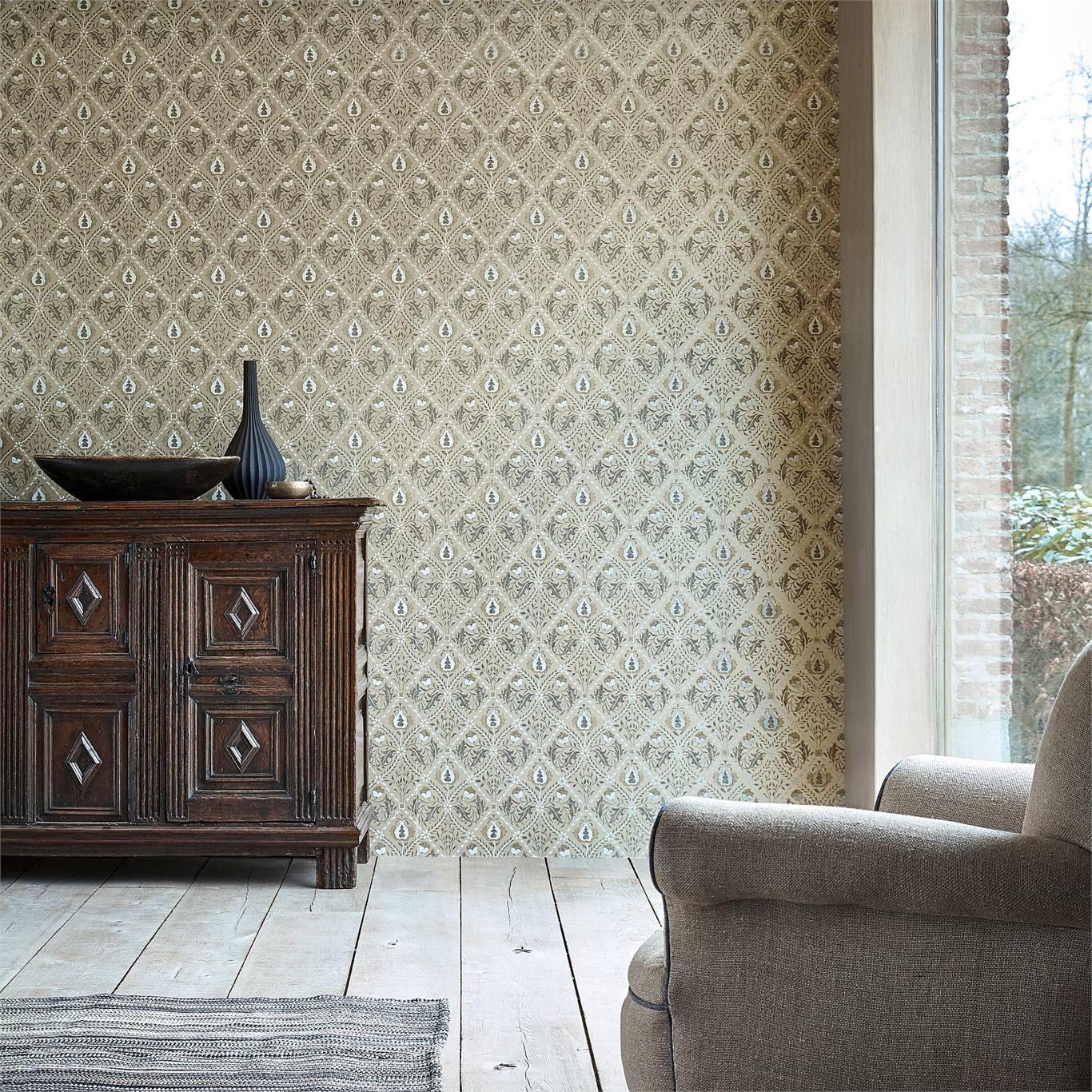 Morris & Co Pure Trellis Gold Wallpaper 216529