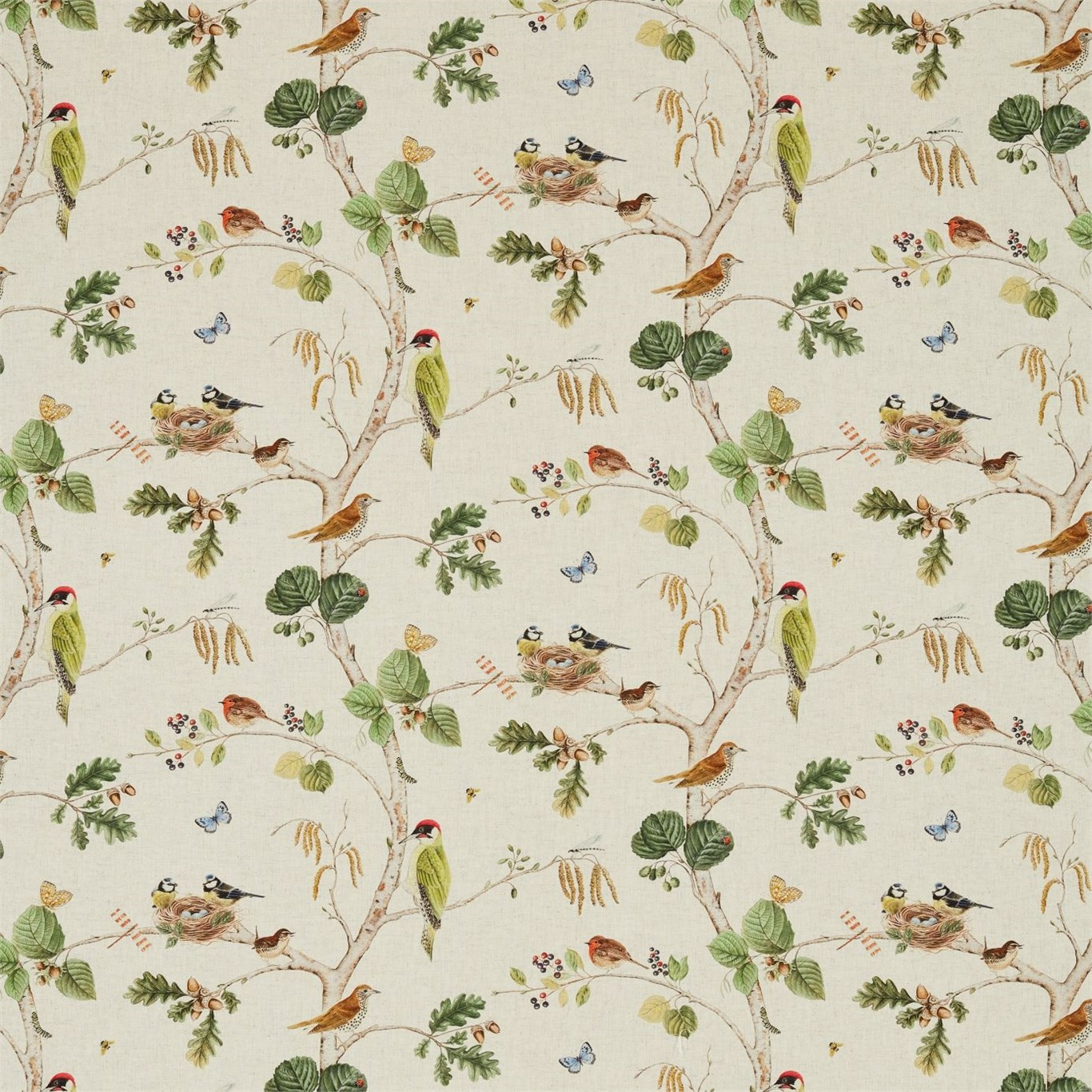 Image of Sanderson Woodland Chorus Linen/Multi Fabric 225511