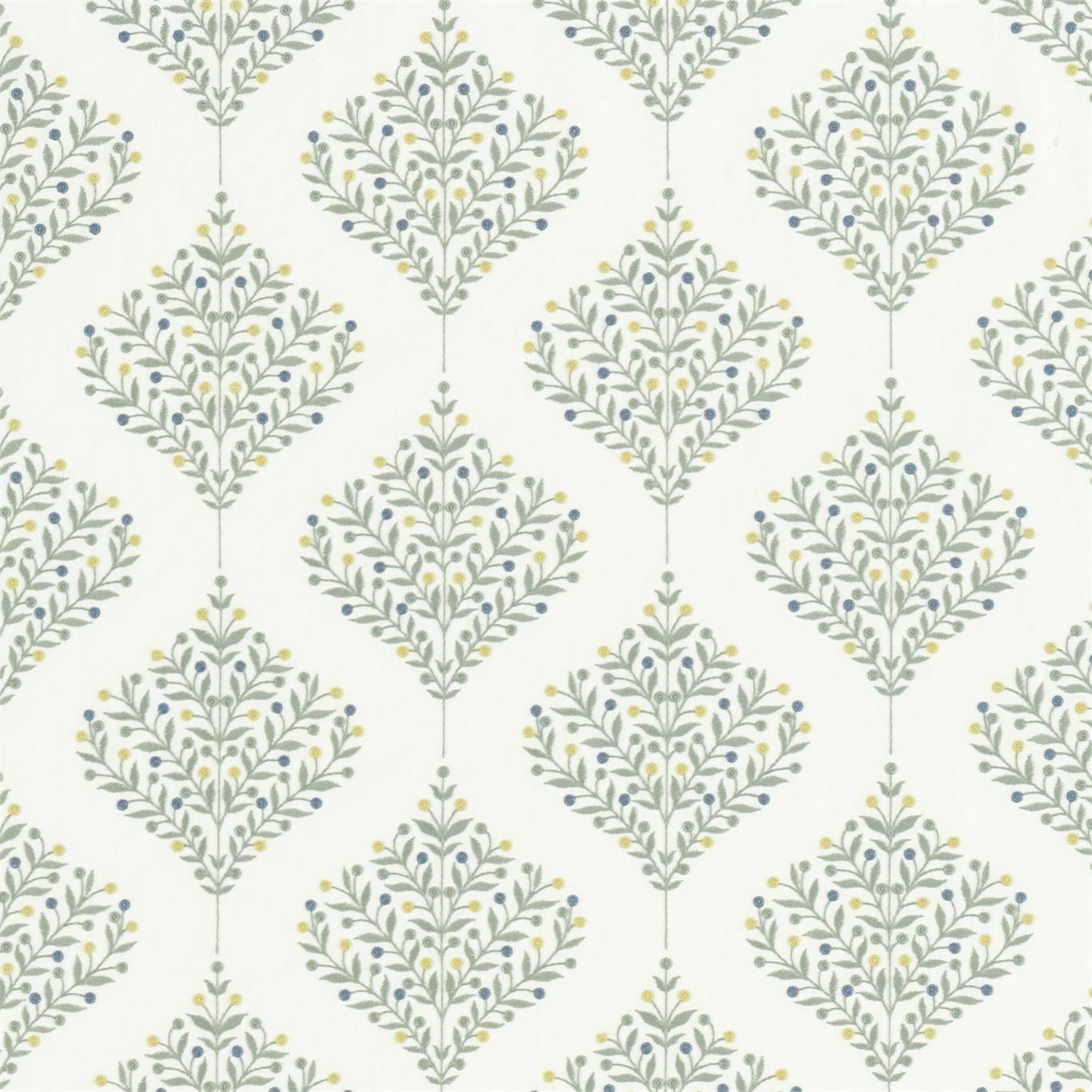 Image of Sanderson Orchard Tree Gardenia Green Fabric 237184