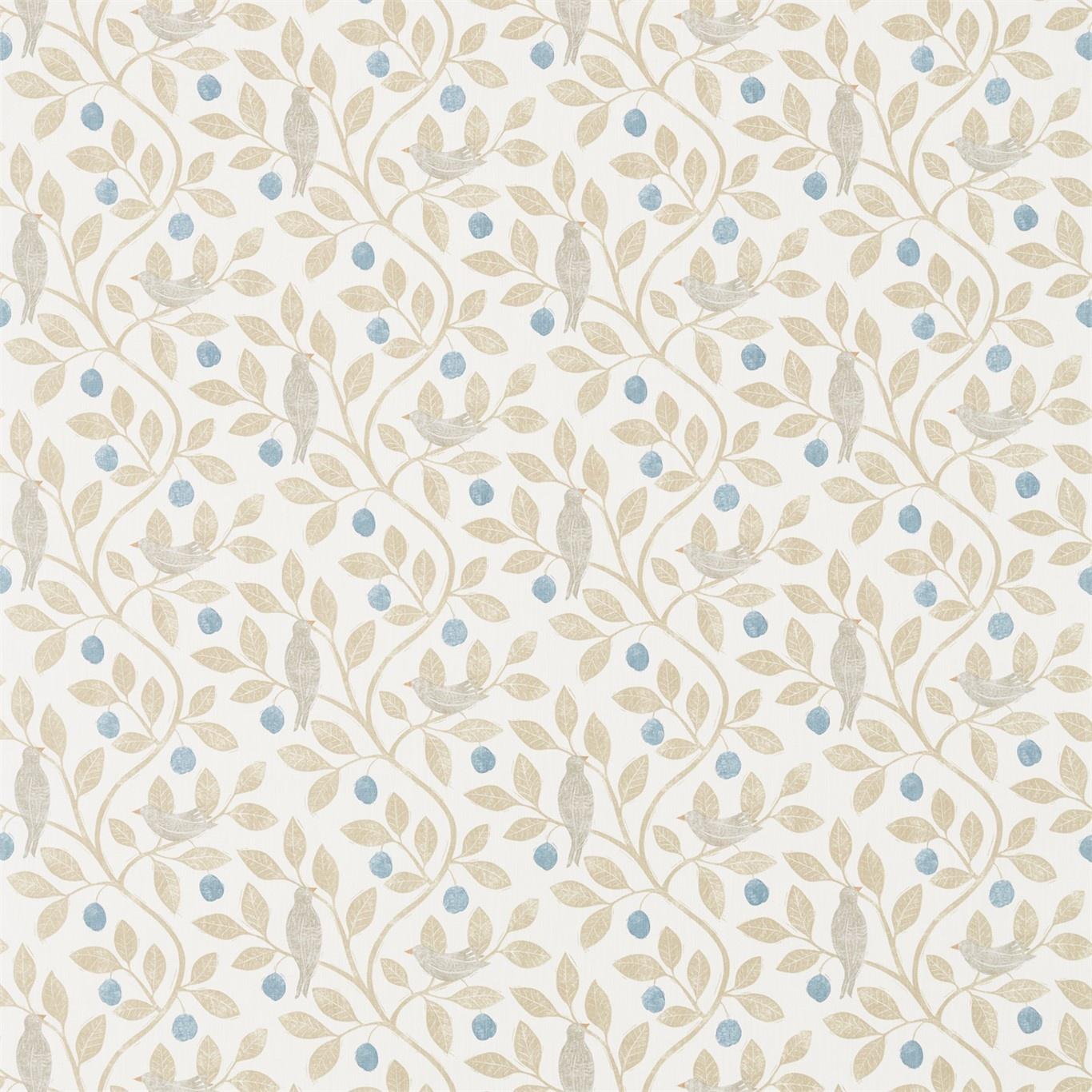 Image of Sanderson Home Damson Tree Denim/Barley Fabric 226361