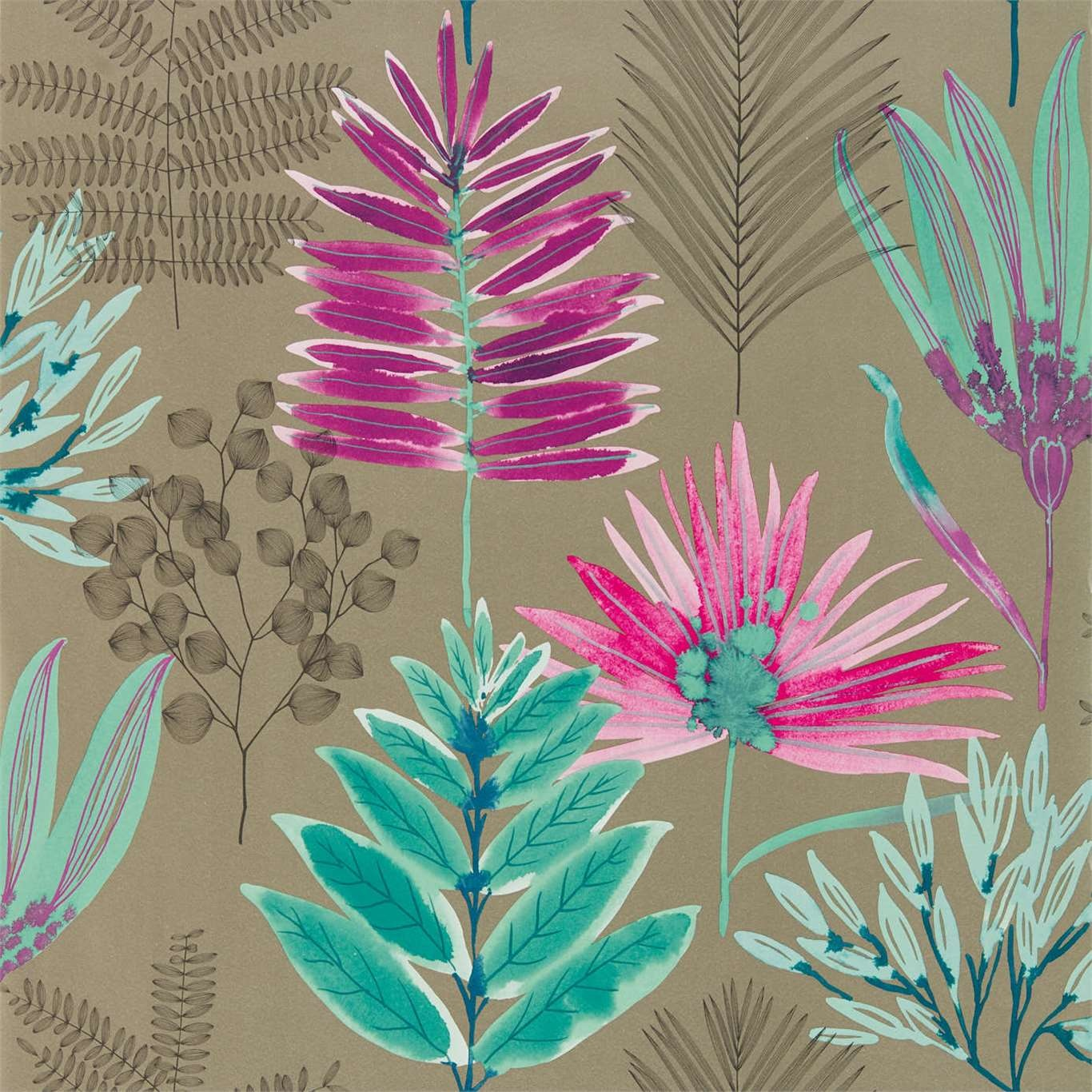 Image of Harlequin Yasuni Lagoon/Cerise Wallpaper 111760