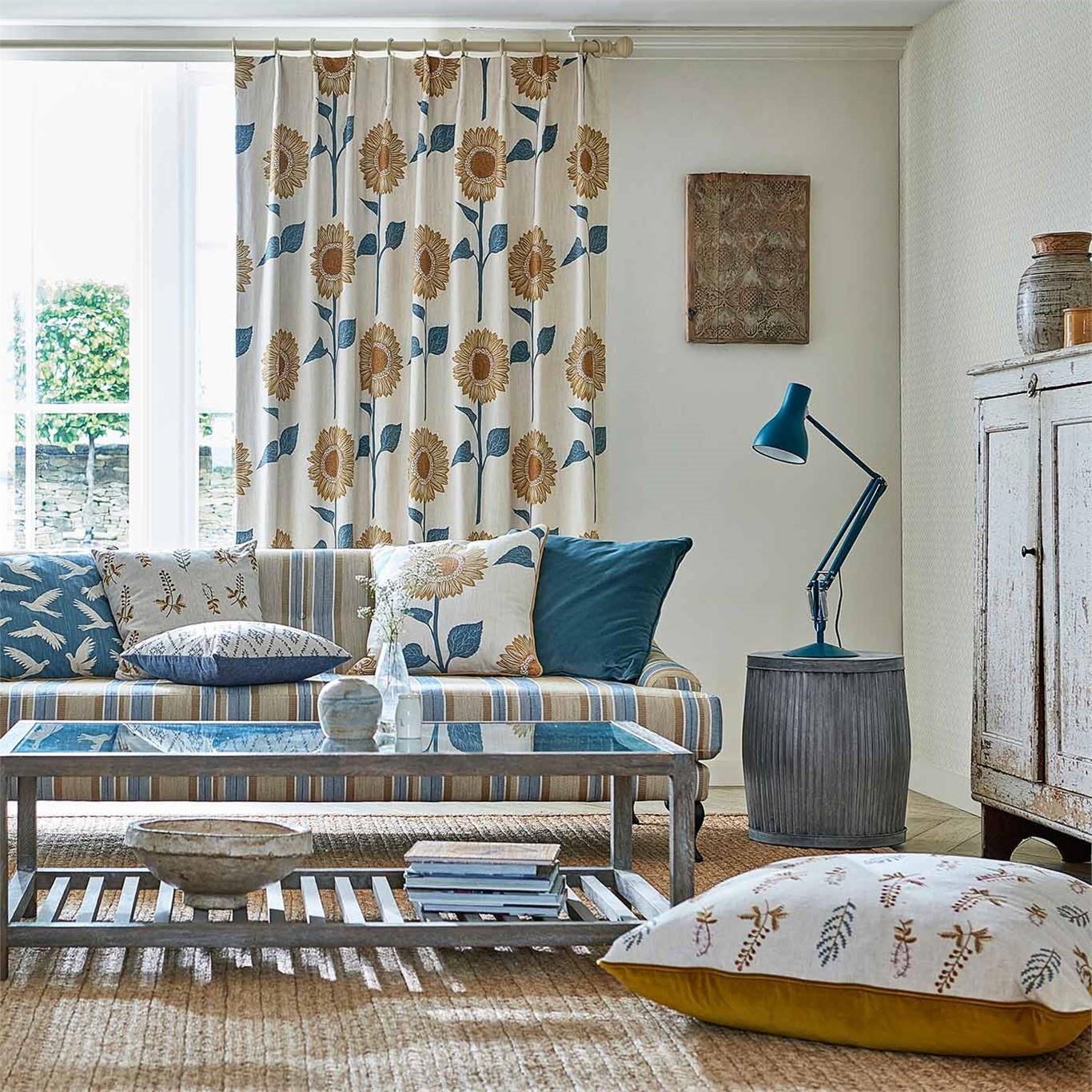 Sanderson Home Sundial Denim/Barley Fabric 226358