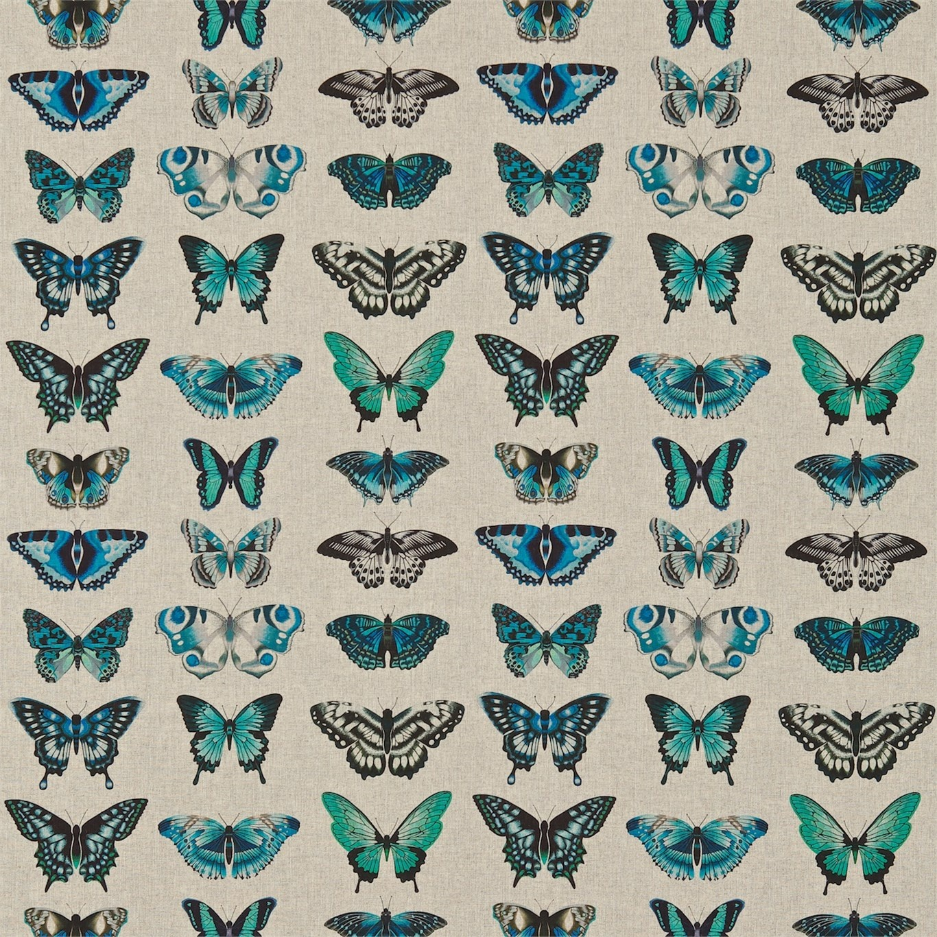 Image of Harlequin Papilio Lagoon/Indigo/Emerald Curtain Fabric 120343