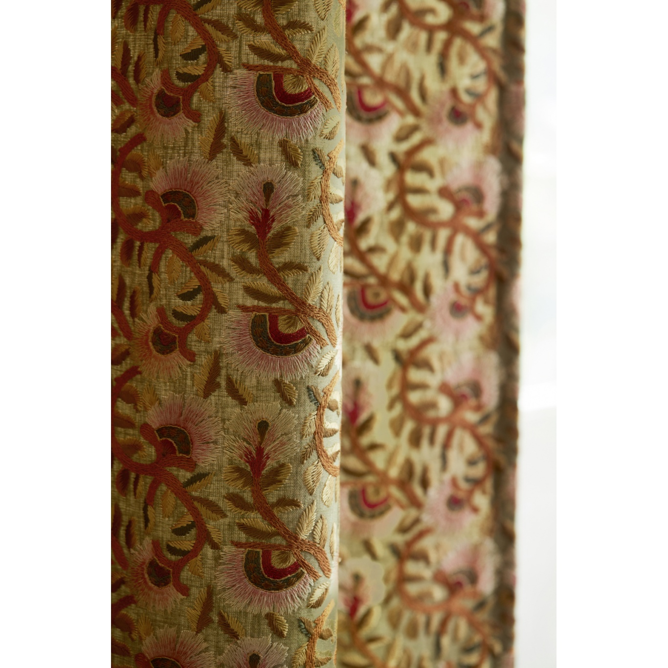 Morris & Co Wardle Embroidery Olive/Brick Fabric 236819