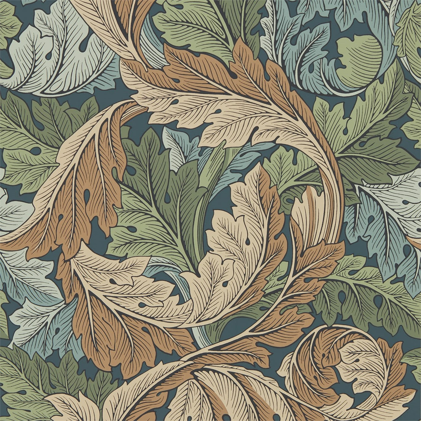 Image of Morris & Co Acanthus Slate Blue/Thyme Wallpaper 216440