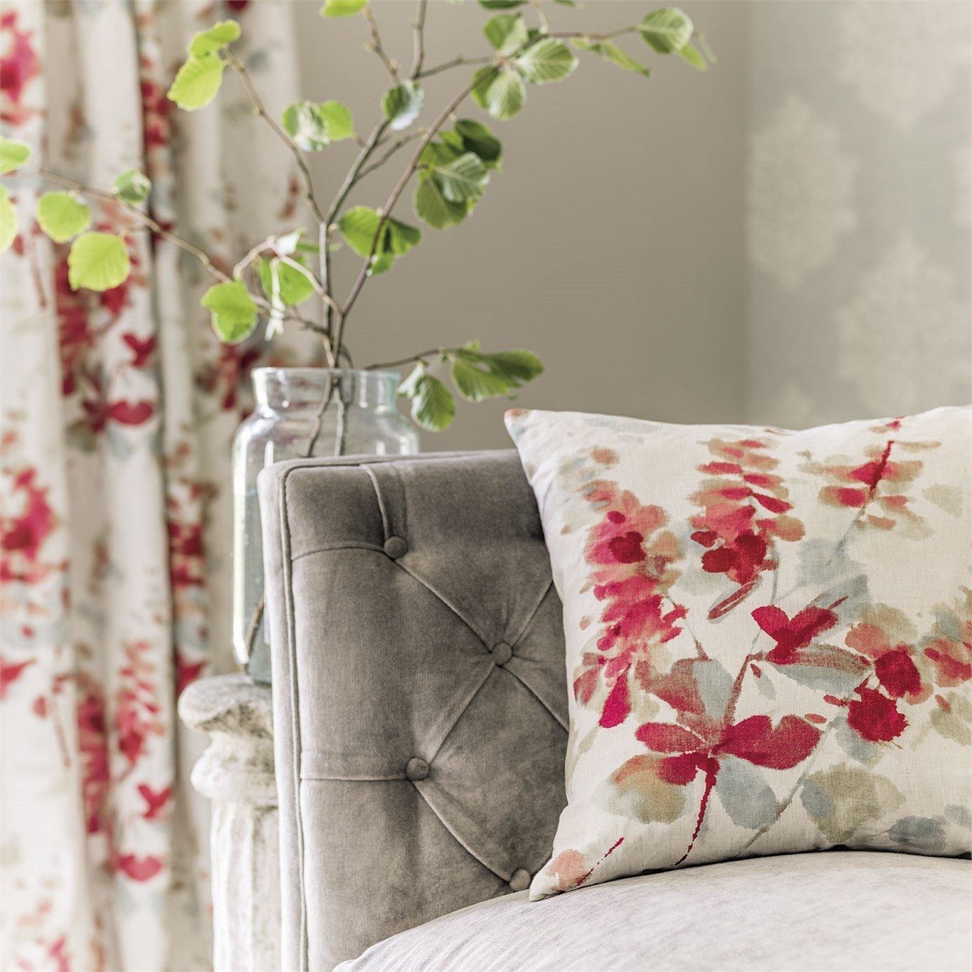 ... Sanderson Delphiniums Coral Fabric 226290