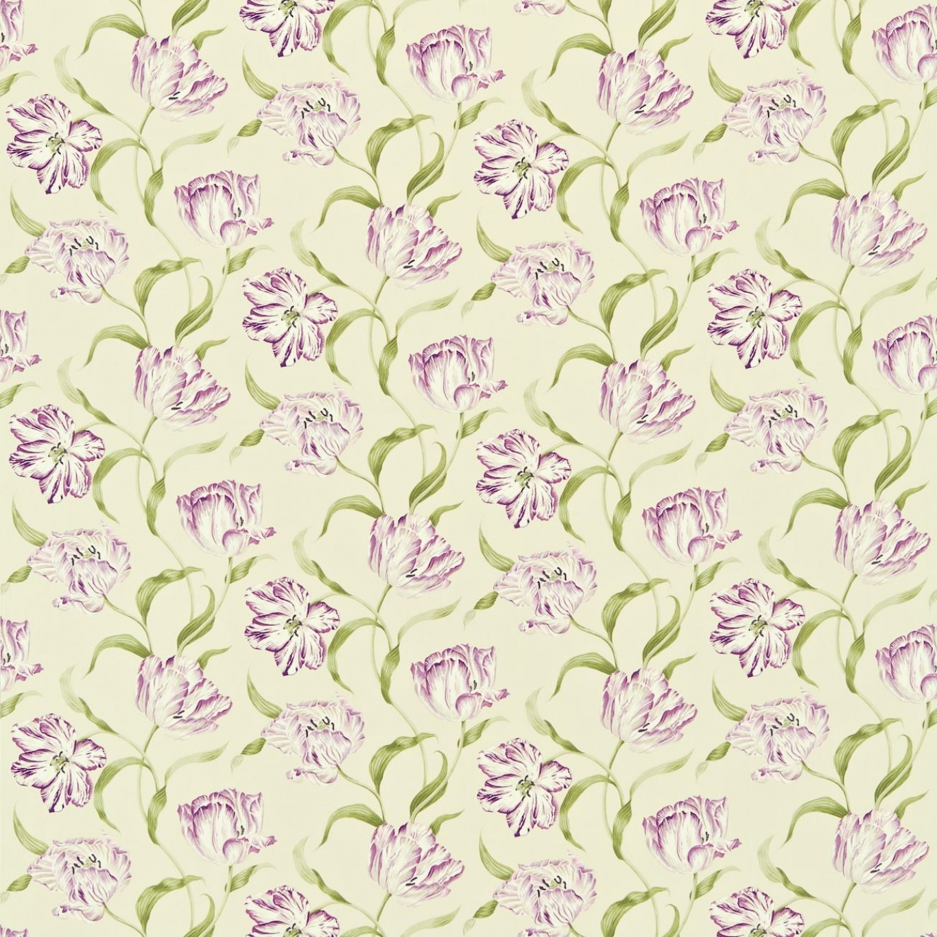 Image of Sanderson Dancing Tulips  Lilac/Stone Fabric 221947 1.8m Remnant