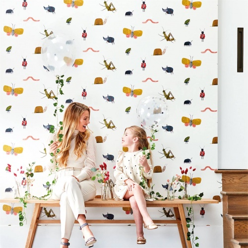 Harlequin Garden Friends Poppy/Ochre/Leaf Wallpaper 112635