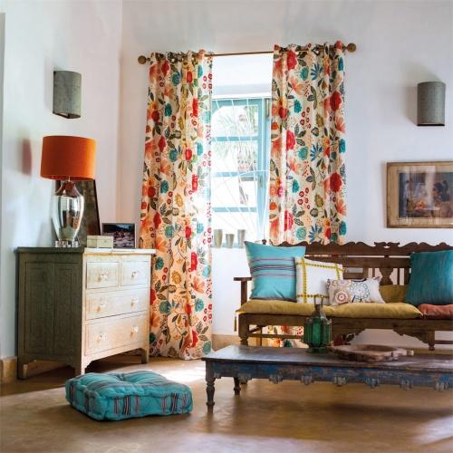 Harlequin Caspia Coral/Indigo Curtain Fabric 120265