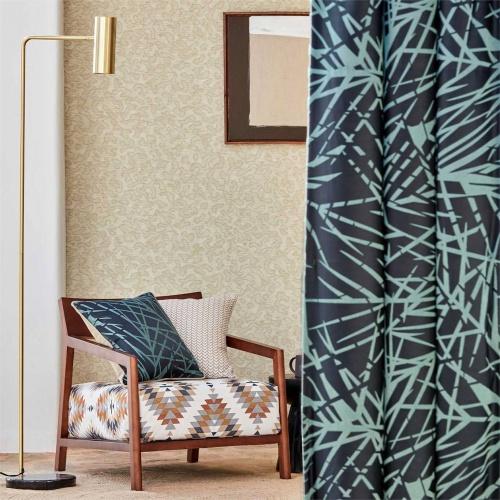 Harlequin Lorenza Ink/ Seaglass Curtain Fabric 133055