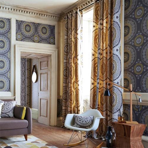 Harlequin Bohème Ochre/Slate Curtain Fabric 131090