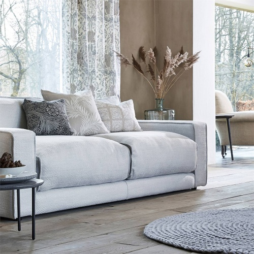 Morris & Co Pure Berwick Weave Grey Blue Fabric 236592