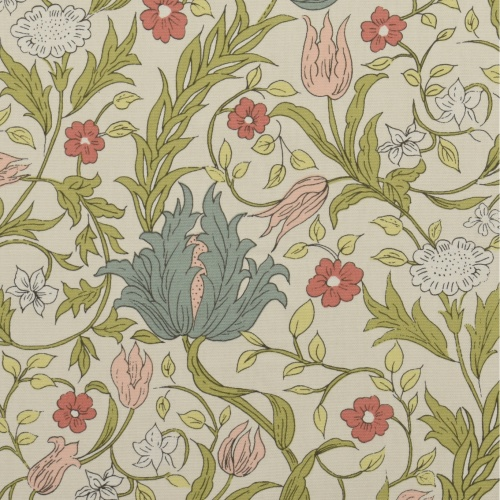 Gordon Smith Wild Tulip Duck Egg/Pink Curtain Fabric