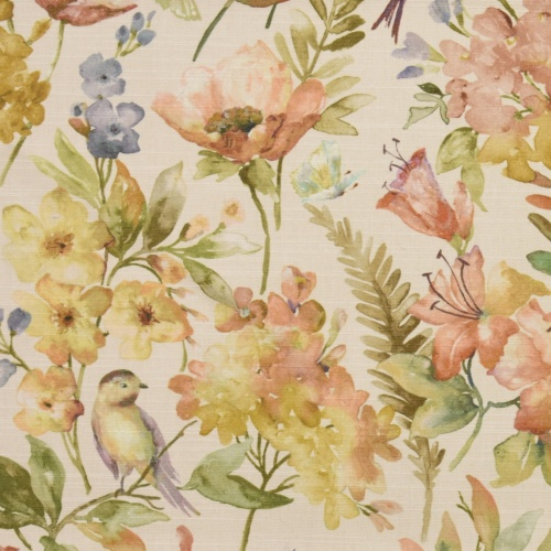 Gordon Smith Birdies Yellow Autumn Curtain Fabric