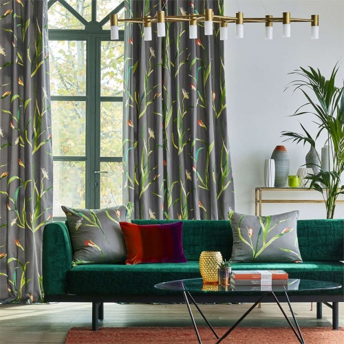 Harlequin Saona Kiwi/Charcoal Curtain Fabric 120739