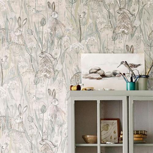 Sanderson Dune Hares Mist/Pebble Wallpaper 216518