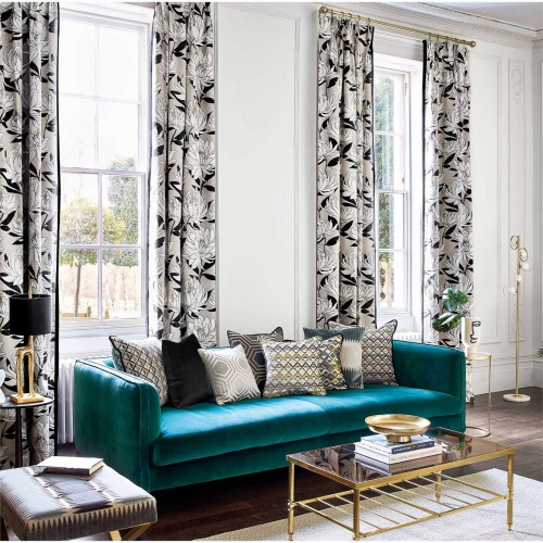 Harlequin Sebal Platinum/Ebony Curtain Fabric 120819