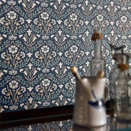 Morris & Co Morris Bellflowers Indigo/Linen Wallpaper 216436