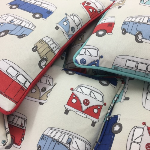 Fryetts VW Campervan Red/Blue Curtain Fabric