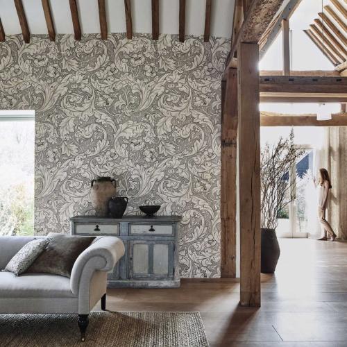 Morris & Co Pure Bachelors Button Stone/Linen Wallpaper 216050