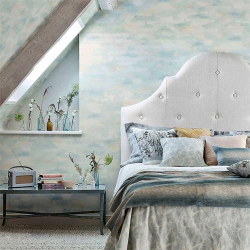 Sanderson Bamburgh Sky Mist Blue Wallpaper 216516
