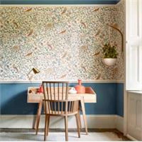 Morris & Co Newill Indigo Saffron Wallpaper 216703