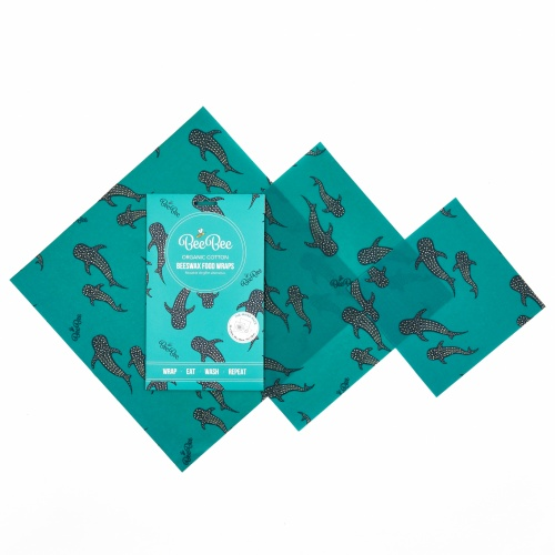 Bee Bee Organic Cotton Beeswax Wrap Mixed Pack Whale Pod