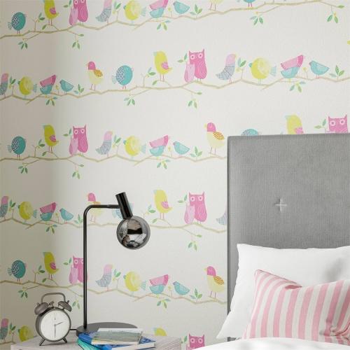 Harlequin What a Hoot Pink/Aqua/Apple/Natural Wallpaper 112650
