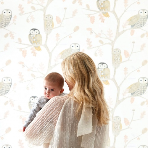 Harlequin Little Owls Powder Wallpaper 112628