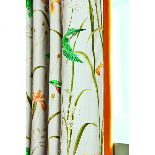 Sanderson Kingfisher & Iris Azure/Linen Fabric 226732