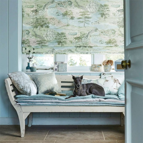 Sanderson Sea Houses Tidewater Blue Curtain Fabric 226435