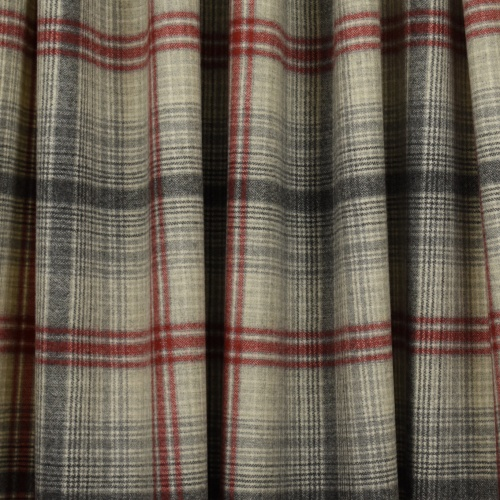 Chess Designs Wool Red/Grey Fabric