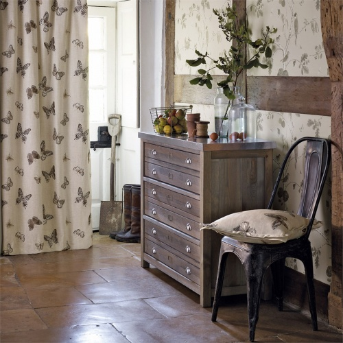 Sanderson Butterfly Embroidery Charcoal/Walnut Fabric 235600