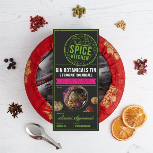 Gin Botanicals Tin with 7 Botanicals & Handmade Sari Wrap